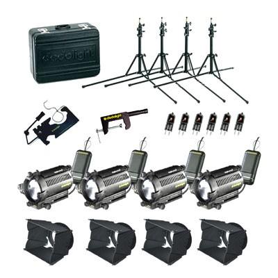 dedolight Basic 4 x 12 V / 100 W (DLH4) tungsten kit, 4 x DIMTA3 (230 V AC) KA1B   - 0