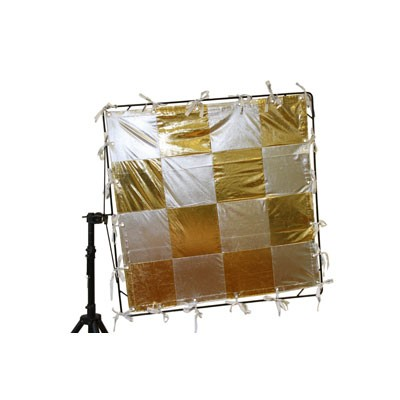 Roscotex 4'x4' 1,12m x 1,12m Checkerboard Lame (Gold/Silver) - 0