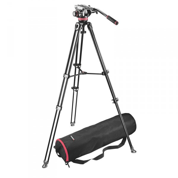 Manfrotto MVK502AM Set: MVH502A Neiger, MVT502AM Teleskop-Stativ, Stativtasche - 0