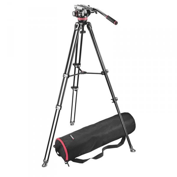 Manfrotto MVK502AM Set: MVH502A Neiger, MVT502AM Teleskop-Stativ, Stativtasche - 0