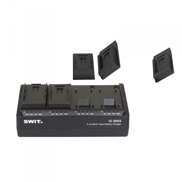 SWIT LC-D421U, 4-CH DV charger with 4x Sony BP-U style plates