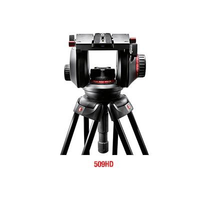 Manfrotto 509HD Pro Fluid Video-Neiger mit 100 mm Halbkugel und 509PLONG - 0